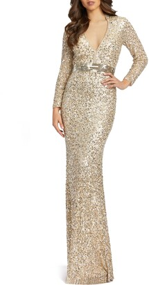 Mac Duggal Sequin Queen Anne Neck Long Sleeve Sheath Gown