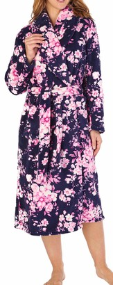 Slenderella Ladies Long Sleeve Soft Dark Blue & Pink Floral Pattern Fleece Shawl Collared Bath Robe Dressing Gown House Coat Medium 12 14