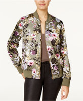 Say What Juniors' Satin Floral-Print Bomber Jacket