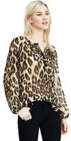 Banana Republic Leopard Pleat-Neck Top