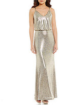 Calvin Klein Hardware-Strap Metallic Blouson Gown