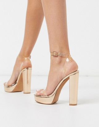 ASOS DESIGN Nutshell clear platform barely there heeled sandals