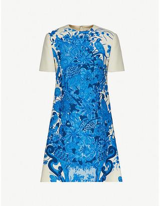 Valentino Floral-print A-line crepe mini dress