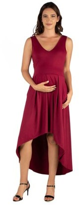 24/7 Comfort Apparel 24seven Comfort Apparel High Low Maternity Party Dress with Pockets