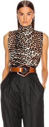 Ganni Silk Stretch Satin Top in Leopard | FWRD