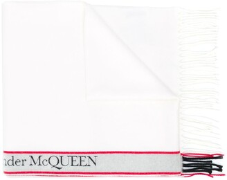 Alexander McQueen Logo Stripe Wool Scarf