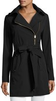 Via Spiga Belted Asymmetrical Soft-Shell Trench Coat, Black