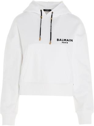 Balmain Flocked Logo Cropped Hoodie