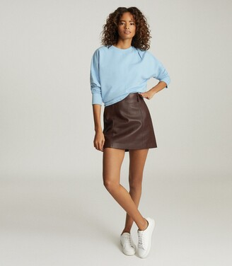 Reiss Eliza - Leather Mini Skirt in Berry