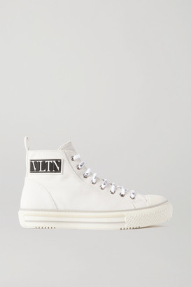 Valentino Logo-detailed Canvas High-top Sneakers - White