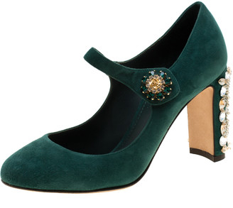 Dolce & Gabbana Green Suede Crystal Embellished Mary Jane Pumps Size 36