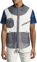 Mostly Heard Rarely Seen Geometric Patchwork Safari Shirt, Gray/Blue/White