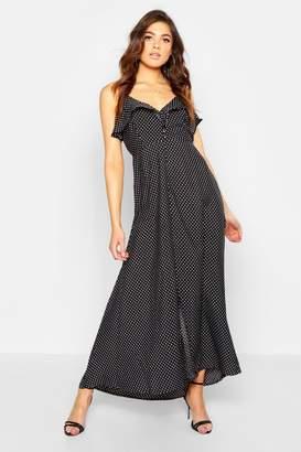 boohoo Woven Polka Dot Covered Button Maxi Dress