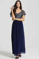 Little Mistress Navy and Gold Maxi Sequin Dress