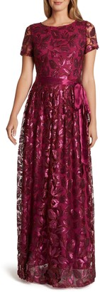 Tahari Short Sleeve Sequin A-Line Gown