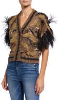 Brunello Cucinelli Ostrich Feather Silk/Linen-Blend Cardigan