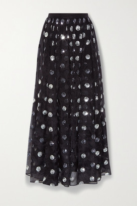Erdem Lindie Polka-dot Sequined Silk-chiffon Skirt - Black