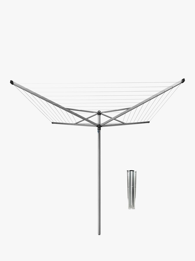 Brabantia Topspinner Rotary Clothes Outdoor Airer Washing Line with Plastic Ground Tube, Metallic Grey, 60m