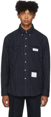 Thom Browne Navy Striped Flannel Shirt