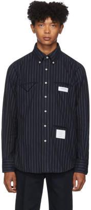 Thom Browne Navy Striped Flannel Shirt