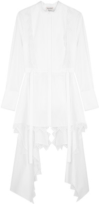 Alexander McQueen White draped lace-trimmed cotton shirt