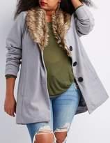 Charlotte Russe Plus Size Faux Fur-Trim Longline Coat