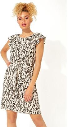 M&Co Roman Originals animal frill sleeve shift dress