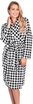 Patricia from Paris Women's Black/White Shawl Collar Coral Fleece Houndstooth Print Robe