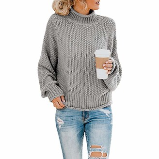 Memoryee Womens Turtleneck Oversized Sweaters Batwing Long Sleeve Pullover Loose Chunky Knit Jumper Gray