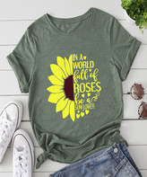 Basico Women's Tee Shirts Green - Green 'In a World Full of Roses' Sunflower Tee - Women & Plus