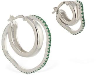 Cornelia Webb ASYMMETRIC GREEN GEMSTONE HOOP EARRINGS