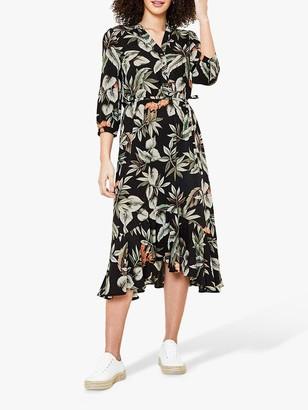 Oasis Leaf Bird Print Dress, Black/Multi