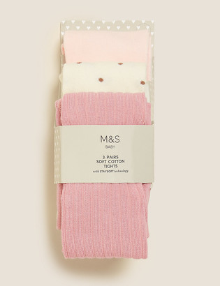 Marks and Spencer 3pk Cotton Tonal Baby Tights