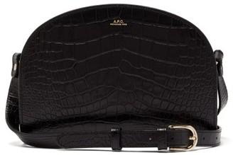 A.P.C. Half-moon Crocodile-effect Leather Cross-body Bag - Womens - Black