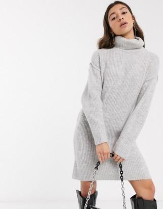 Asos Design DESIGN chunky mini dress with roll neck-Grey