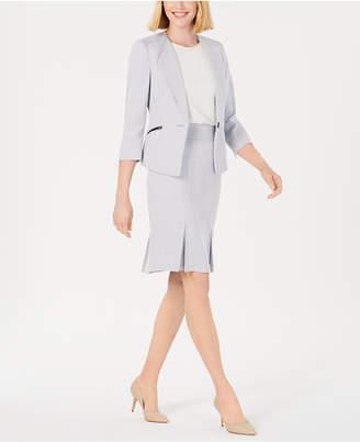 Le Suit Petite Zippered-Pocket Pleated-Hem Skirt Suit