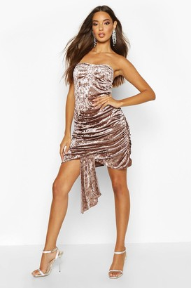 boohoo Textured Velvet Bandeau Dress
