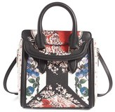 Alexander McQueen Mini Heroine Floral Print Calfskin Leather Satchel - White