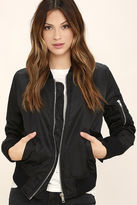 LuLu*s Long Distance Love Olive Green Bomber Jacket