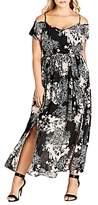 City Chic Shadow Floral Print Cold Shoulder Maxi Dress