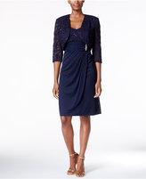 R & M Richards Sequined Lace Faux-Wrap Dress and Bolero Jacket