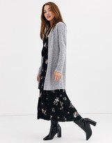 JDY brushed longline knitted cardigan in gray