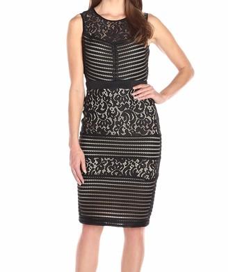 Gabby Skye Women's Sleeveless Pintuck and Lace Sheath Dress Black/Nude 10