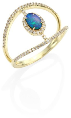 Meira T Diamond, Opal & 14K Yellow Gold Ring