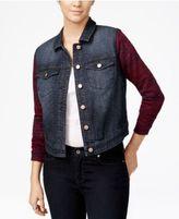 Tinseltown Juniors' Knit-Sleeve Denim Jacket