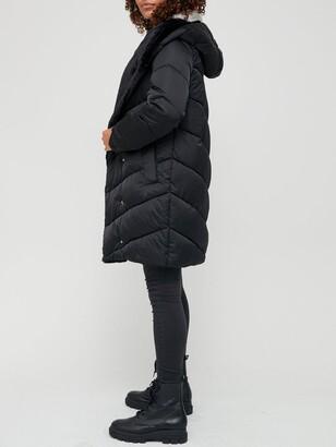 Very Faux Fur Collar Padded Coat - Black