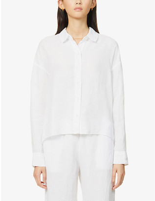 James Perse Cropped stepped-hem boxy-fit linen shirt