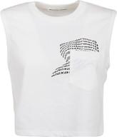 Alexander Wang Top High Twist Jersey Muscle With Warped Logo Print