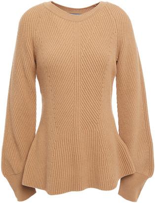 Alberta Ferretti Ribbed Wool And Cashmere-blend Peplum Sweater