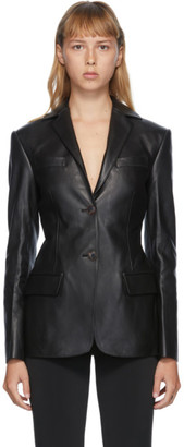 Alexander Wang Black Leather Fitted Pointed Collar Blazer